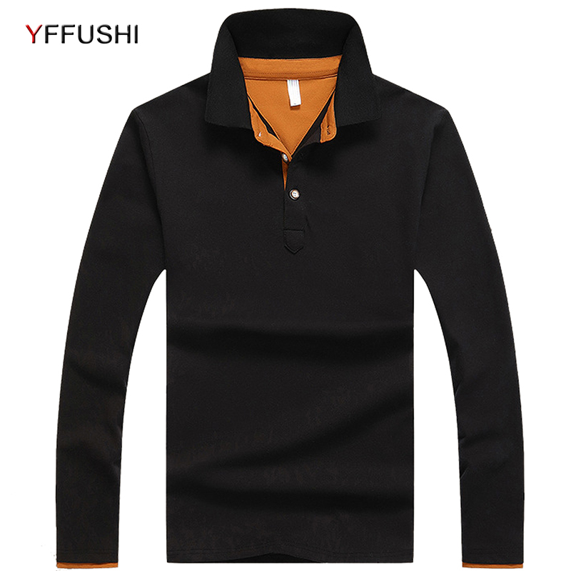 YFFUSHI 2018 Men   Polo   Shirt Spring Autumn Long Sleeve   Polos   Shirt Mens Color Block Cotton Shirt Fashion Brand Casual Top Shirts