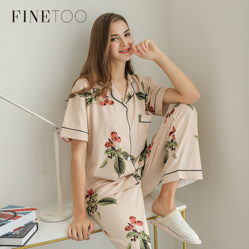 Summer   Pajamas   Cute Cartoon Print   Pajamas     Sets   For Women Plus Size Nightgown Comfort Ladies Cotton Sleepwear Girls Nightclothes