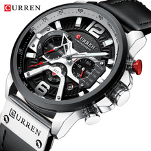 лучшая цена Watches Men Black Watch Top Brand CURREN Sports Wristwatch Casual Quartz Business Watch Man Clock Waterproof Reloj Zegarek Meski