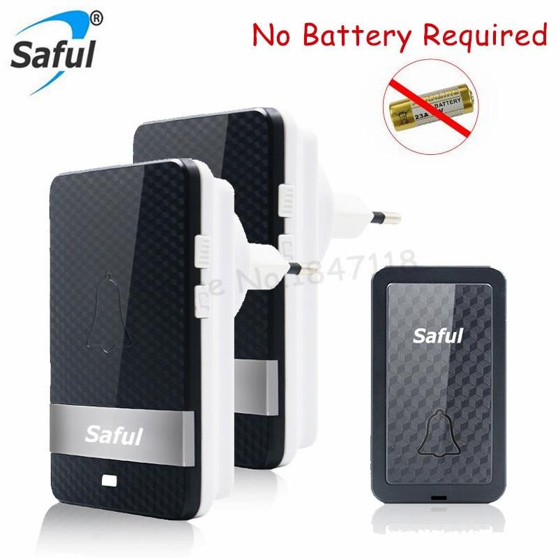 Saful Waterproof No Battery Need Wireless Door Bell EU/US/UK/AU Plug-in Long Range Led Doorbell 1 2 Transmitter+1 2 Receivers