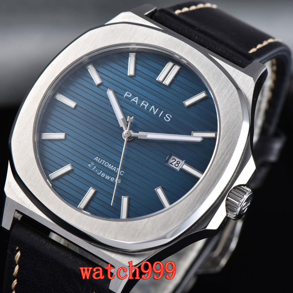 NEW 45mm PARNIS miyota mens watch Blue dial Sapphire Crystal Leather strap Luminous Mechanical Automatic Mens WatchNEW 45mm PARNIS miyota mens watch Blue dial Sapphire Crystal Leather strap Luminous Mechanical Automatic Mens Watch