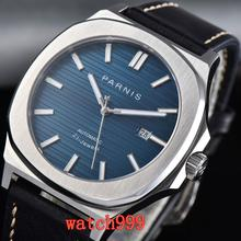 PARNIS miyota reloj para hombre, esfera azul, cristal de zafiro, correa de cuero, mecánico, luminoso, automático, 45mm