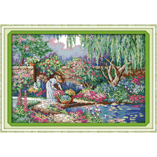 Everlasting love Christmas Garden girl  Ecological cotton chinese Cross Stitch 11CT 14CT Printed DIY gift christmas decorations
