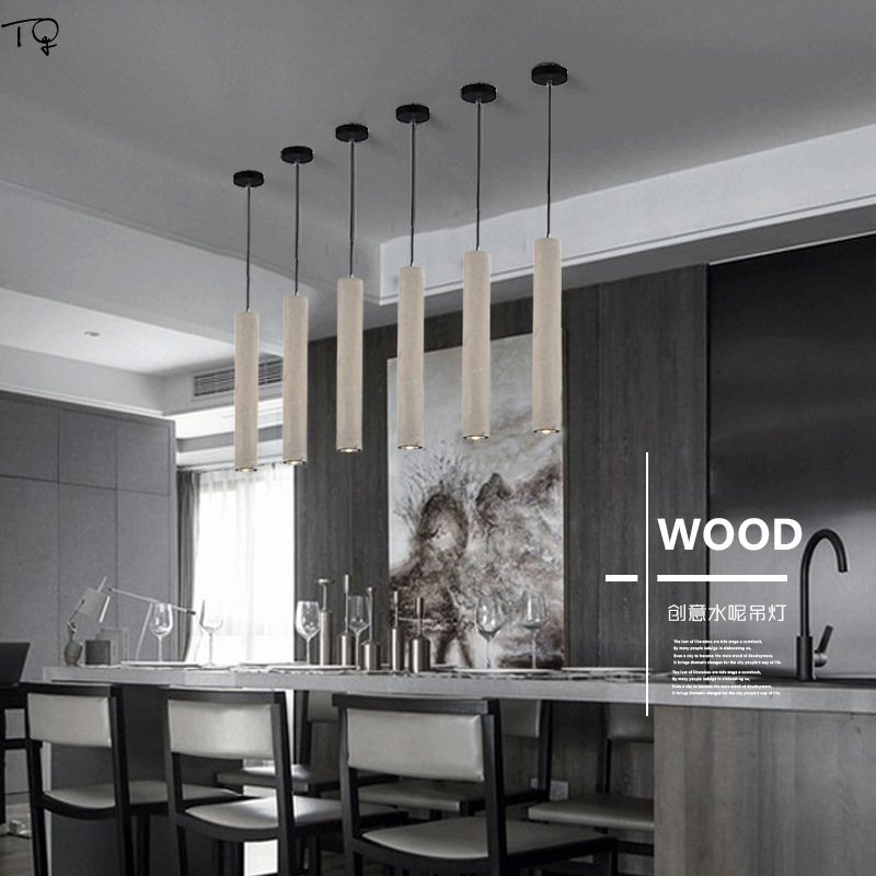 Nordic Simple Pendant Lights Cement Industrial Bedroom Personality Creative American Loft Cafe Aisle Single Head Hanging Lights in Pendant Lights from Lights Lighting