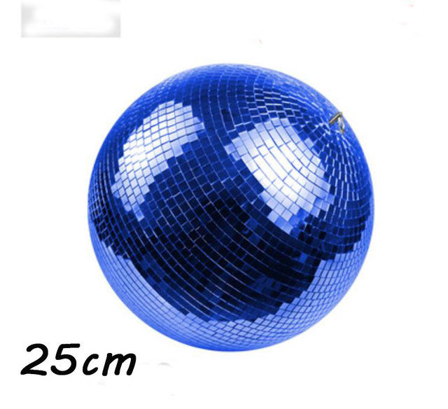 """D25cm Blue hand made glass rotating mirror ball 10"""" disco home party stage Industrial shop decoration reflection hanging balls"""