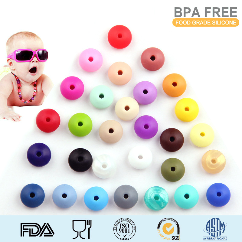60pcs WKOUD 12x7mm Lentil Beads Food grade chewing silicone beads for baby teething toys jewelry mommy DIY beads Abacus Beads