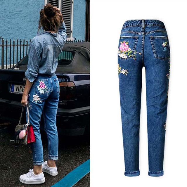 Straight Long 3D Flowers Embroidery Denim Jeans
