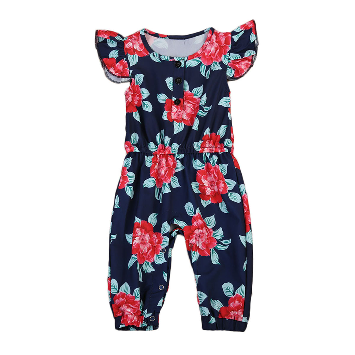 New Style Newborn Baby Girls Clothes Floral Short Sleeve Romper Jumpsuit Baby Clothing Outfits