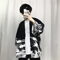 2017 Autumn Mens Kimono Japanese Clothes Streetwear Casual Kimonos Jackets Harajuku Japan Style Cardigan Outwear