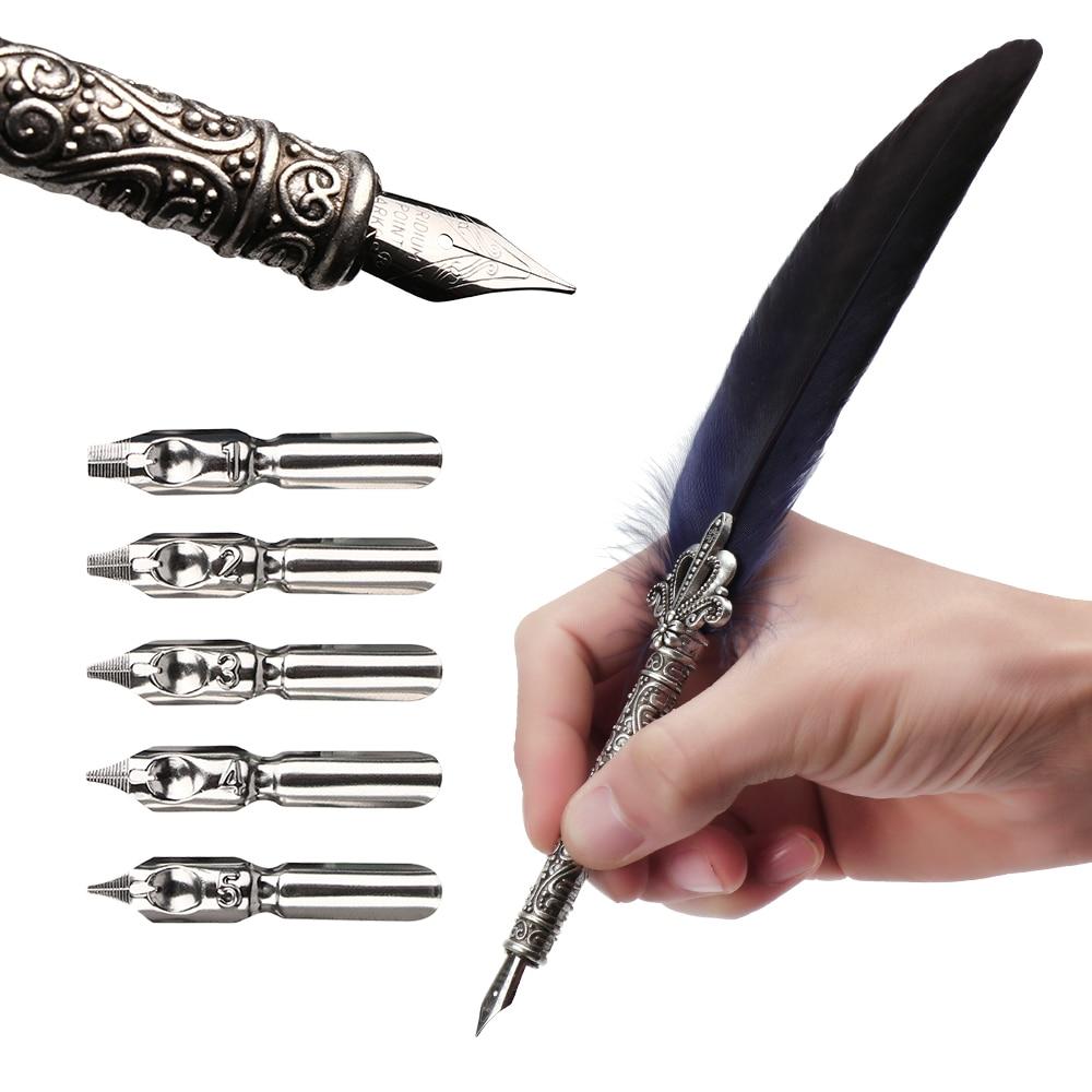 1 Set Vintage Quill Dip Pen Turkey Feather Pen Quill Oblique + 5 Nibs+ Pen Set Gift 2019 Hot