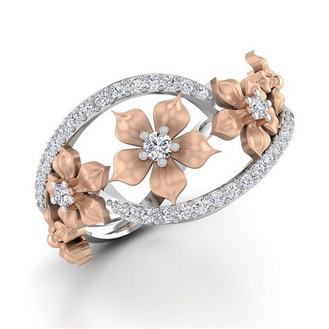 Romantic Bridal Wedding Rings Silver Color CZ Crystal Flower Charms Rings for Wo