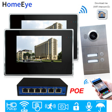 720P WiFi IP Video Door Phone Video Intercom 2-Apartments Door Access Control System iOS/Android Mobile APP Remote Unlock Alarm apartment wired video door phone audio visual intercom entry system 6 unit