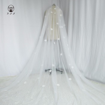 Fashion One Layer 3D Flowers Long One Layer Wedding Veil