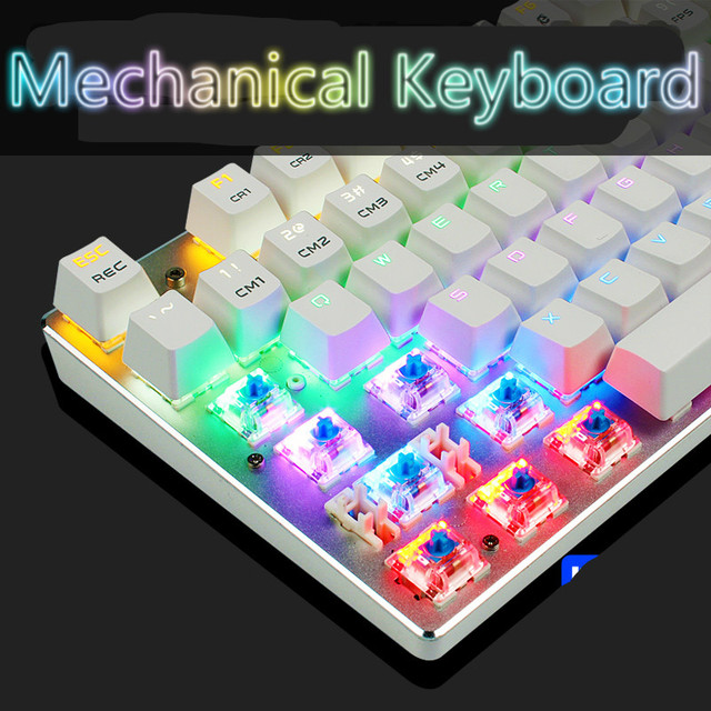 Gaming Mechanical Keyboard Colorful Backlight Anti-ghosting Blue/Black/Red Switch 87/104 Keys USB Wired Computer Keyboard 3