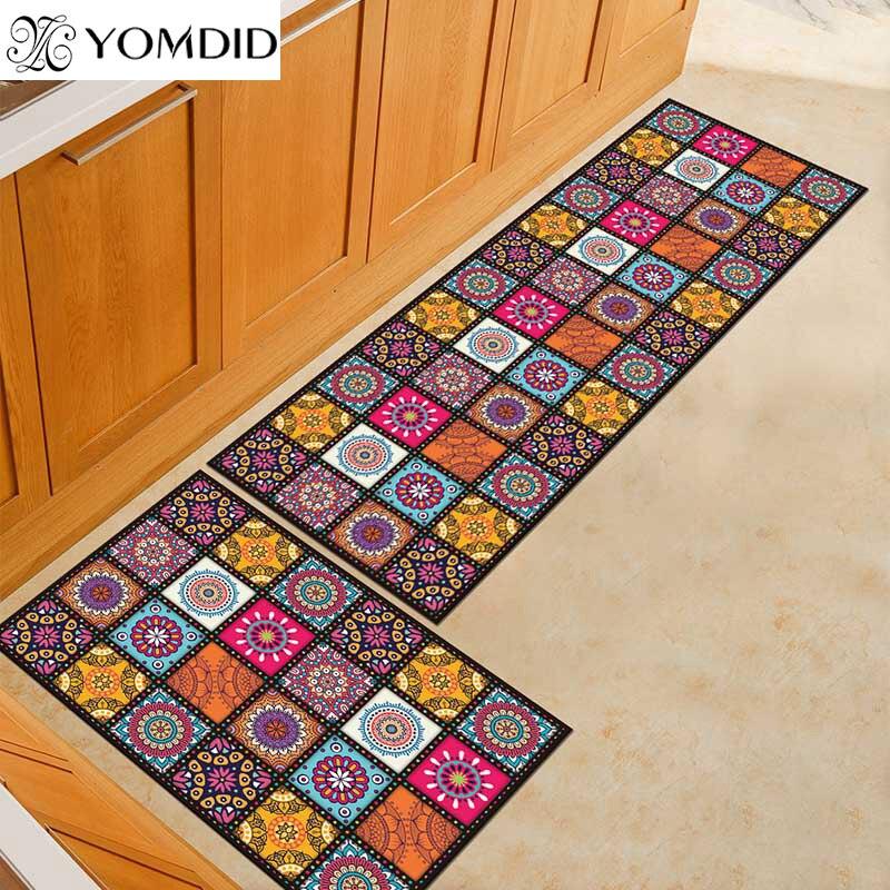 2 piezas la alfombra de cocina más barato Anti-slip moderna alfombras habitación balcón baño Alfombra conjunto felpudo alfombra de baño en el pasillo.