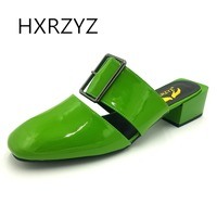 HXRZYZ Sandal Women Shoes Summer Female Slippers New Fashion Thick Square Heel All Match Metal Buckle