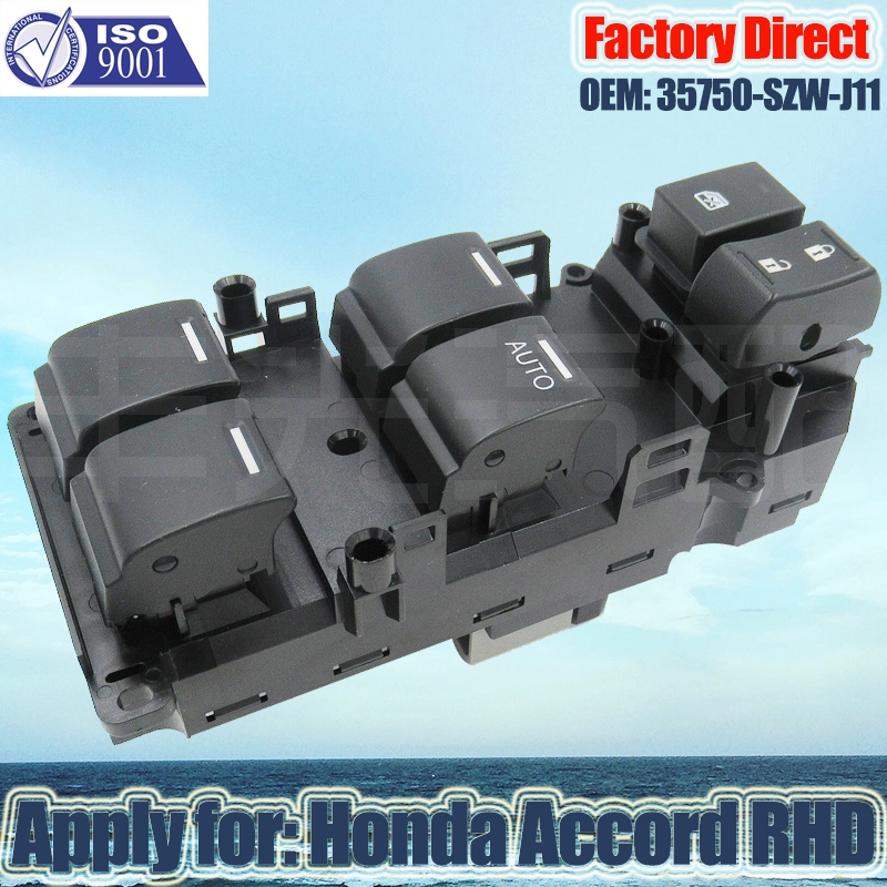 Factory Direct 35750-SZW-J11 Auto Power Window Master Switch Apply For Honda ACCORD Right Driver Side RHD