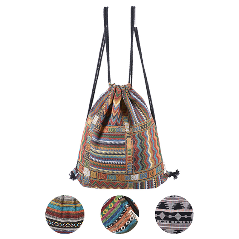 2016 Women Vintage Backpack Gypsy Bohemian Boho Chic Hippie Aztec Folk Tribal Woven String Female Drawstring Rucksack