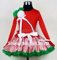 عيد الميلاد أحمر أبيض مقلم مزيج الأخضر pettiskirt عيد مع أحمر طويل الأكمام الأعلى مع حفنة كيلي الأخضر و الأبيض ريدات القوس MAMB06