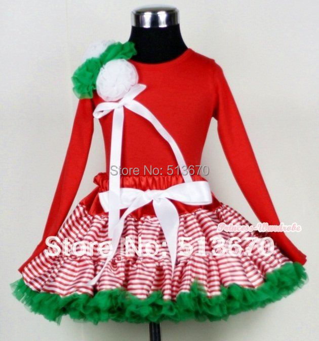Xmas Red White Striped mix Xmas Green Pettiskirt with Red Long Sleeves Top with Bunch Kelly Green & White Rosettes & Bow MAMB06 xmas leopard minnie dots red pettiskirt with christmas minnie print white long sleeve top with minnie dots lacing mamw413