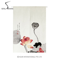 SewCrane Lotus Flower Plants Japanese Home Restaurant Door Curtain Noren Doorway Room Divider