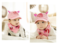 The New 2017 Luxurious Two Cute Kitten Cap Triangular Bandage Suit Children Baseball Hat