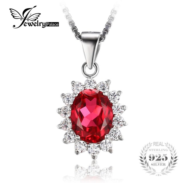 JewelryPalace Oval 3.2ct Princess Diana William Pendant Red Created Ruby Pendant 925 Sterling Silver Not Include The Chain