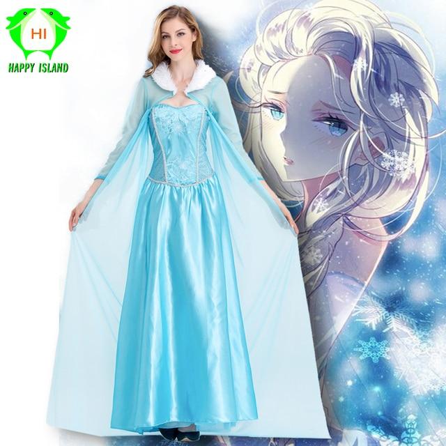 2019 New Elsa Princess Dress Elsa Cosplay Costumes Women Pretty Dress Carnival Novelty Dress Up Birthday Party Dresses for Girls