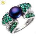 Hutang Black Freshwater Pearl & Tsavorite Solid 925 Sterling Silver Snake Ring Womens Fine Luxury Jewelry