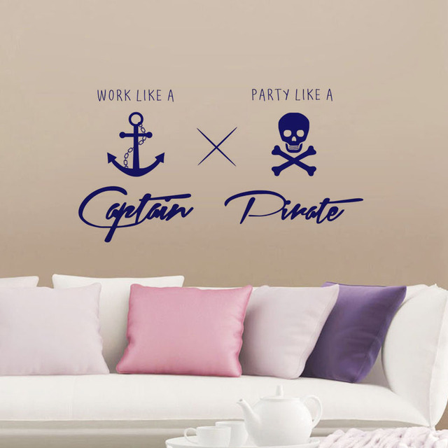Work Like A Captain Party Like A Pirate Wall Stickers Childrenu0027s Rooms Wall  Decoration DIY Vinyl