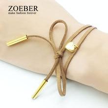 Zoeber ethnic heart Bracelets love bowknot handmade copper alloy metal geometry black brown colors leather bracelets for women