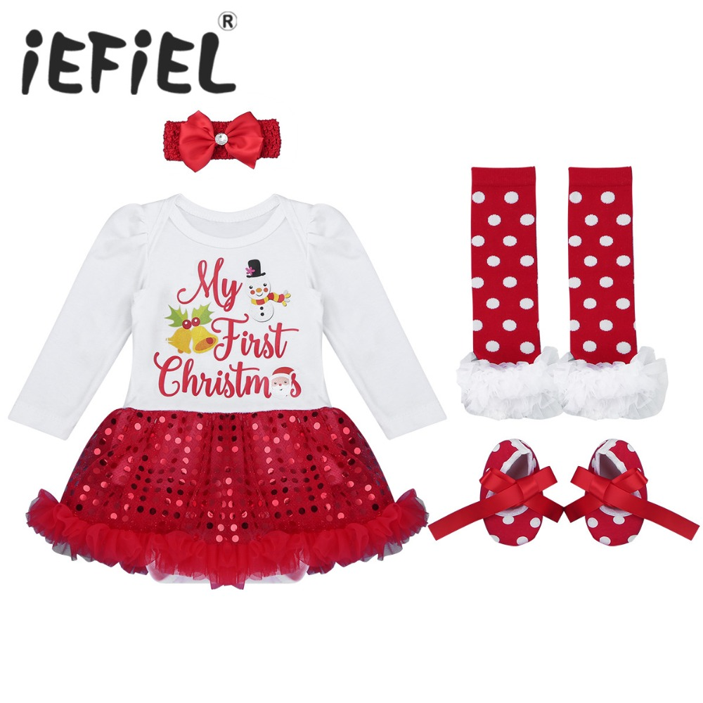 First Christmas.Us 12 3 36 Off Iefiel Infant Baby Girl Xmas Outfit Toddler Baby Girls First Christmas Set Newborn Christmas Romper Set With Headband Leg Warmer In