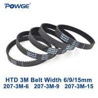 POWGE Arc HTD 207 3M courroie de distribution longueur de pas 207mm largeur 6mm 9mm 15mm dents 69 caoutchouc HTD3M courroie synchrone 207-3M boucle fermée