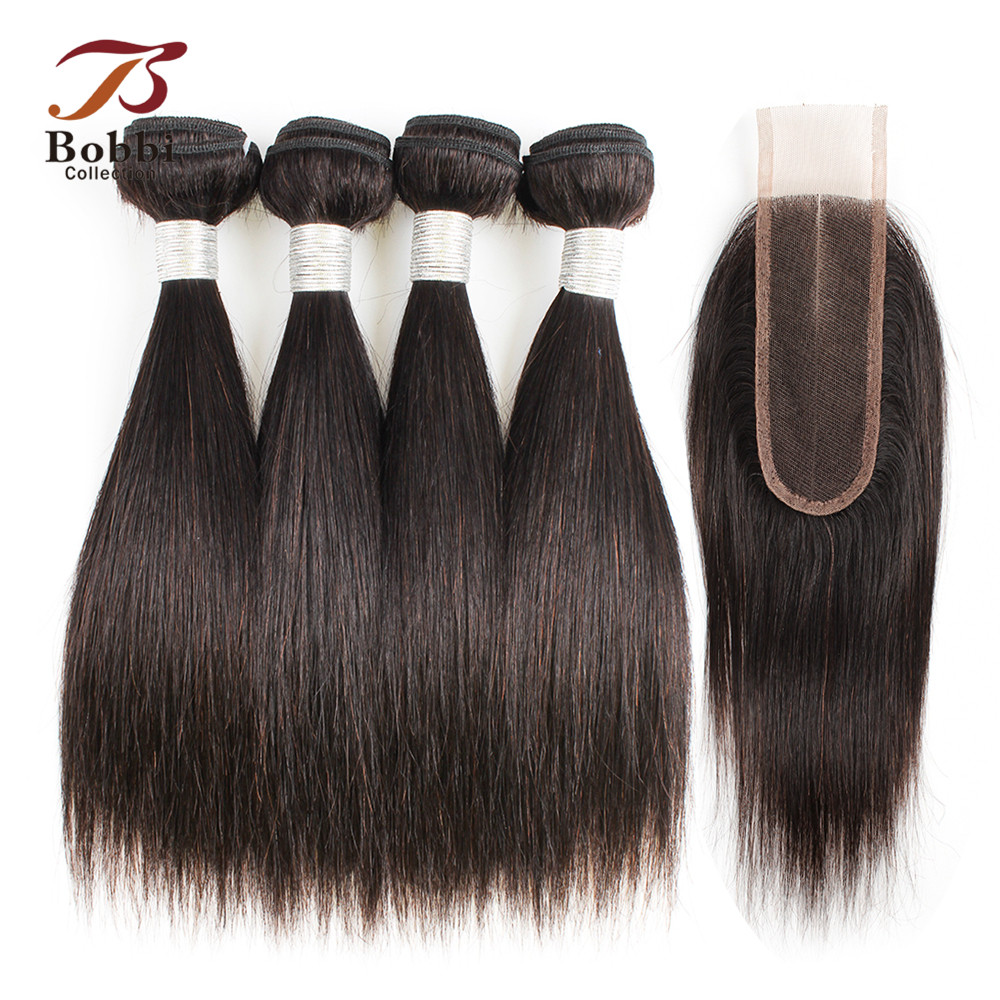 BOBBI COLLECTION 4 6 Bundles with Closure 50g pc 2 6 Long Lace Closure Indian Straight