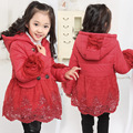 Free shipping winner girl flower net yarn splicing lace hem double-breasted cotton-padded outerwear girl coat children clothing