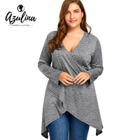 AZULINA Big Plus Size Marled Longline Surplice Top T Shirts Women Casual Sexy V Neck Long