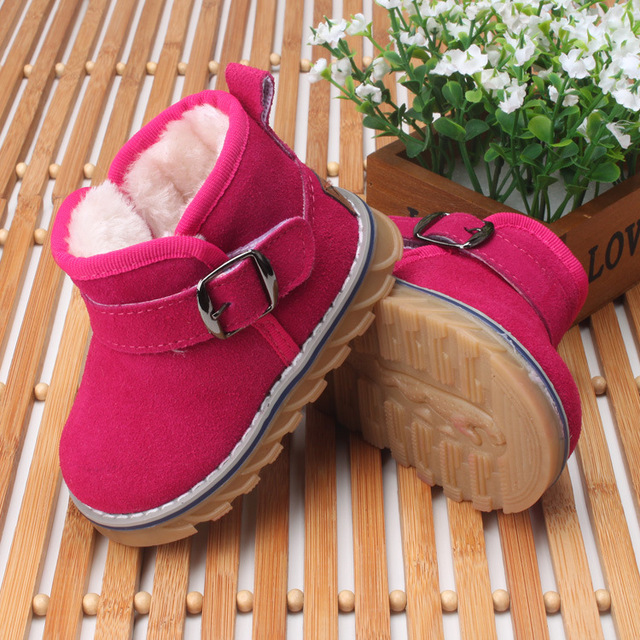 Hot Baby girl winter Genuine leather children's shoes children's snow boots leather toddler shoes baby soft bottom shoes