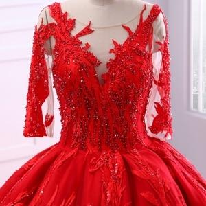 Image 5 - Miaoduo ontwerp Rode Trouwjurken Scoop Baljurk Kant Applicaties Parels Vestido De Novias Prinses Kathedraal Trein High end nieuwe