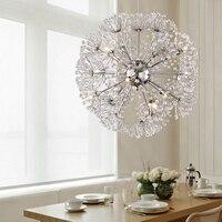 Modern Brief K9 Crystal Clear Dandelion LED Chandelier Lustre De Crystal Pendant Lamp For Living Room