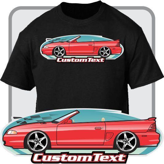 Print Men T Shirt Summer Custom Art Tee 94 95 96 97 1998 Convertible Mustang GT Not Affiliated W American Classic Car Fans Tee