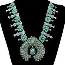 Moda Bohemia Cuentas de Turquesa Natural de Plata Tibetana de la Aleación Del Bowknot Forma de Colgante de Collar de Joyería de Las Mujeres