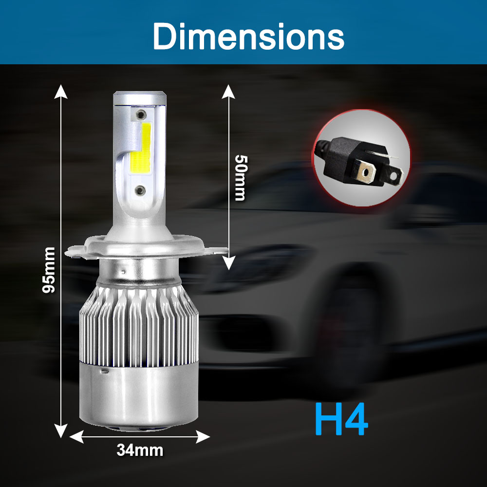 Image 3 - 2Pcs Car Lights Bulbs LED H4 H7 9003 HB2 H11 LED H1 H3 H8 H9 880 H27 9005 9006 HB4 H13 9004 9007 Auto Headlights 72W COB 6000K-in Car Headlight Bulbs(LED) from Automobiles & Motorcycles