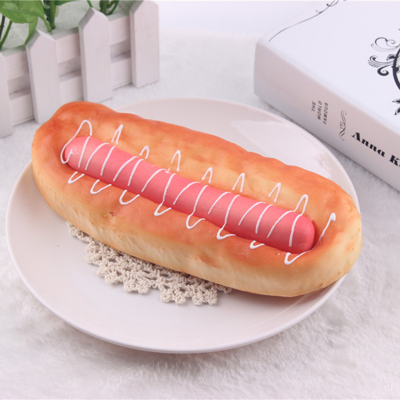 2pcs Simulation Squishy Slow Clip ham sausage bread model kitchen decorate food toys kitchen pretend toys for children enlarge