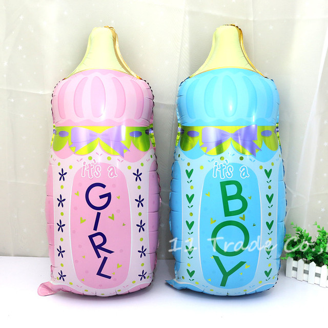 1pcs/lot Baby Boy Girl Baby Shower 1st Happy Birthday Balloon Princess  Prince Feeding Bottle