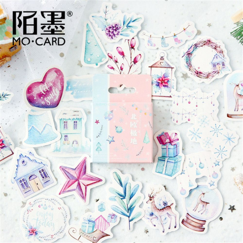 Cute Journal Mini Small Paper Diary Stationary Christmas Nordic Snow Stickers Scrapbooking Flakes