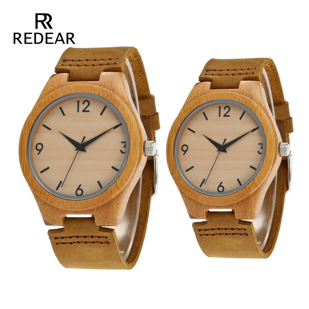 Free Shipping Bamboo Watches With No Logo Wood Switch Watch Real Leather Light Brown Watches By Gift Package