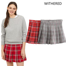 5e7f63536bf Withered 2018 BTS skirt women england style zipper fly plaid striped  pleated above knee mini skirts womens plus size 0916