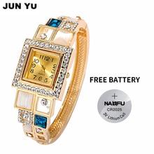 JUNYU 2017 18K Gold Women Luxury Crystal  Square Quartz Watches Wrist Watchr Oval Created Opal Cuff Bangle Watch 6 Color