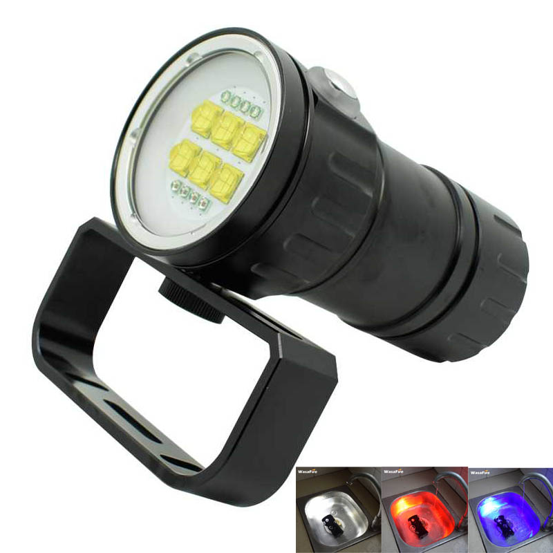 Diving Flashlight 9090 XM-L2 Diver Torch Underwater Scuba Photography Video Lamp White Red Blue Light 14 LED Photo Flashlights 100m underwater diving flashlight led scuba flashlights light torch diver cree xm l2 use 18650 or 26650 rechargeable batteries