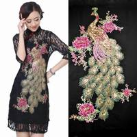 Boutique Sequins Embroidery Applique Cheongsam Dress Size Peacock Peony Flower Patch Affixed Decorative Clothing